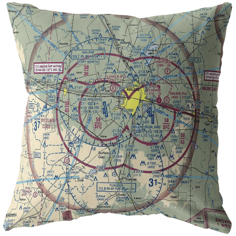 Image of Throw Pillow | Abilene, Texas VFR Sectional
