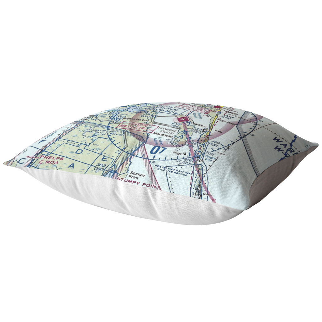 "Throw Pillow |  Kitty Hawk, North Carolina ""First in Flight"" VFR Sectional"