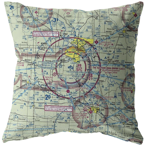 Throw Pillow |  Cedar Rapids, Iowa VFR Sectional