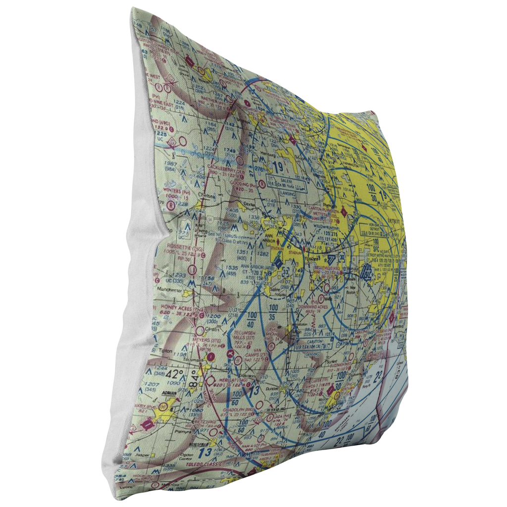 Throw Pillow | Detroit, Michigan VFR Sectional