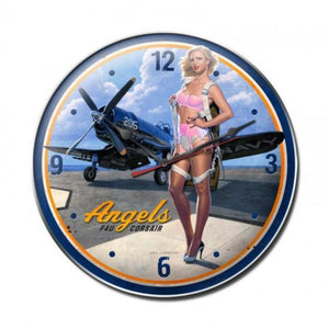 Wall Art | Wall Clock - Navy F4U Corsair Premium Metal wall clock, pin up girl