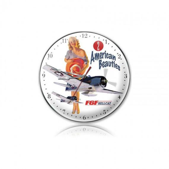 Wall Art | Wall Clock - 2 American Beauties F6F Hellcat Pin-Up Girl Wall Clock