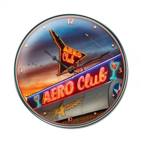 Wall Art | Wall Clock - Aero club metal wall clock bar decor, man cave, metal clock