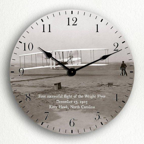 "Wall Art | Wall Clock - Wright Brothers First Flight 12"" Silent Wall Clock"