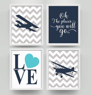 "Baby Boy - Navy and Grey Art Print- Nursery Decor- Set of 4 ""Oh the places you'll go"""