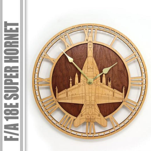 Wall Art | Wall Clock - F/A 18E Super Hornet Wooden Wall Clock