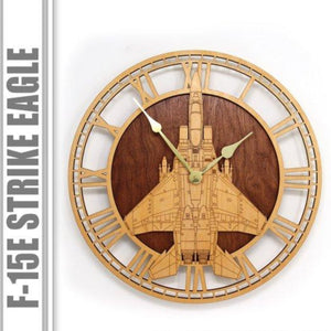 Wall Art | Wall Clock -F-15 E Strike Eagle Wooden Wall Clock