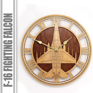 Wall Art | Wall Clock - F-16 Fighting Falcon Wooden Wall Clock