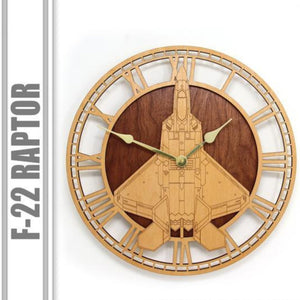 Wall Art | Wall Clock - F-22 Raptor Wooden Wall Clock