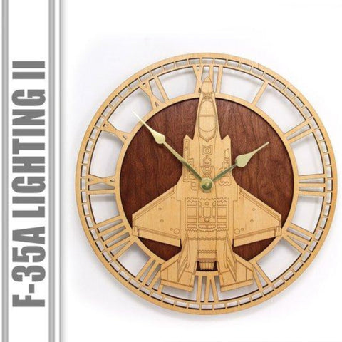Wall Art | Wall Clock - F-35 A Lightning II Wooden Wall Clock