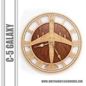 Wall Art | Wall Clock - C-5 Galaxy Wooden Wall Clock, Air Force Gift