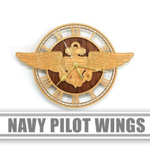 Wall Art | Wall Clock - Navy Pilot Wings Wood Wall Clock