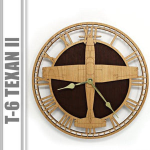 Wall Art | Wall Clock - T-6 Texan II Wooden Wall Clock
