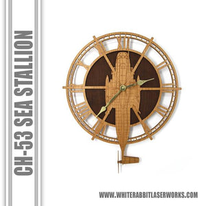 Wall Art | Wall Clock - CH-53 Sea Stallion Wooden Wall Clock, Helicopter