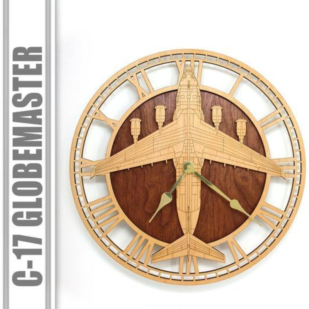 Wall Art | Wall Clock - C-17 Globemaster Wooden Wall Clock