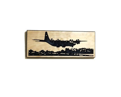 Image of Wall Art | Wood - C-130J Carved Wood Art