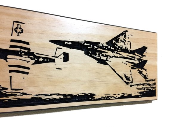Wall Art | Wood - Heritage Flight | P-51 and F-15 Carved Wood Art