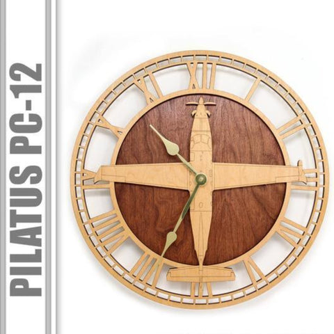Wall Art | Wall Clock - Pilatus PC-12 / U-28A Wooden Wall Clock