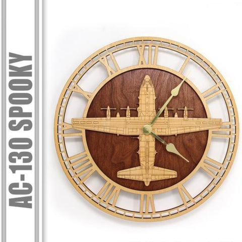 Wall Art | Wall Clock - AC-130 Spooky Wooden Wall Clock