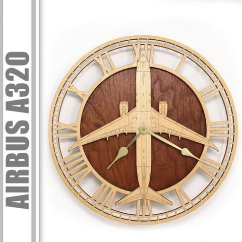 Wall Art | Wall Clock - Airbus A320 Wooden Wall Clock