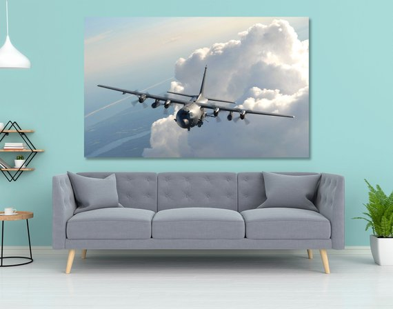 Wall Art | Canvas- AC-130U Canvas Print Wall Art - Colored