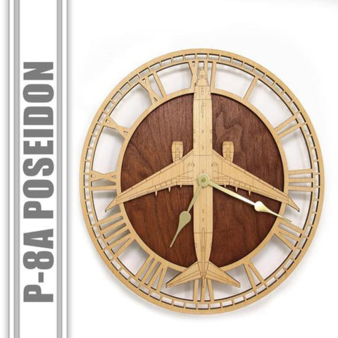 "Wall Art | Wall Clock - P-8 A Poseidon 14"" Wooden Wall Clock"