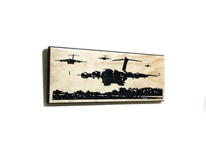 Wall Art | Wood - C-17 Formation Carved Wood Art