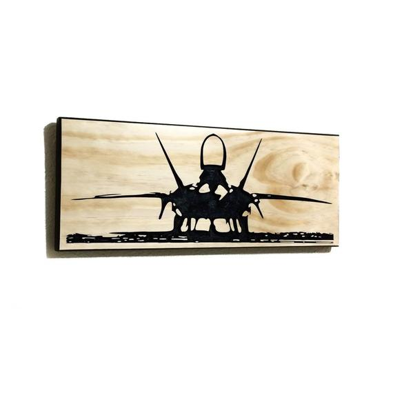 Wall Art | Wood - F-22 Carved Wood Art
