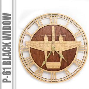 Wall Art | Wall Clock - P-61 Black Widow Wooden Wall Clock