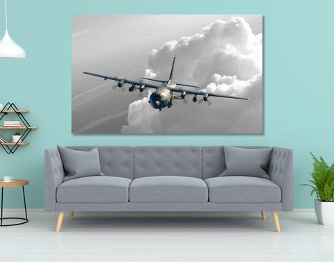 Wall Art | Canvas - AC-130U Canvas Wall Art - Black & White