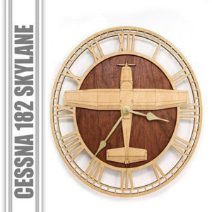 Wall Art | Wall Clock  - Cessna 182 Skylane Wooden Wall Clock