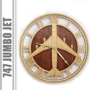 Wall Art | Wall Clock - Boeing 747 Jumbo Jet Wooden Wall Clock