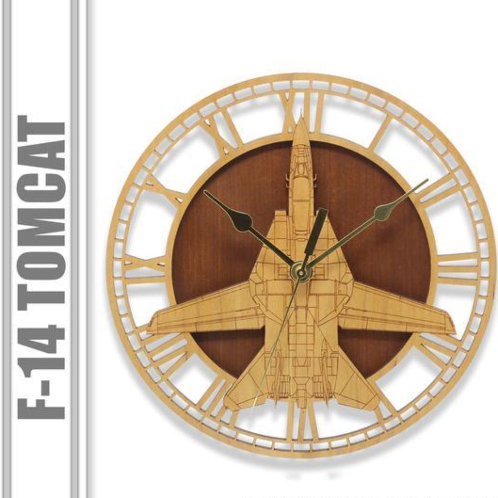 Wall Art | Wall Clock -F-14 Tomcat Wooden Wall Clock