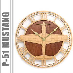 Wall Art | Wall Clock - P-51 Mustang Wooden Wall Clock