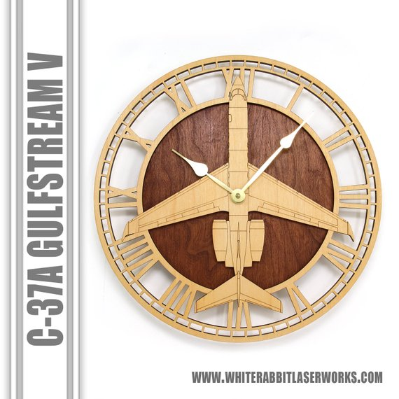 Wall Art | Wall Clock - C-37A Gulfstream V Wooden Wall Clock