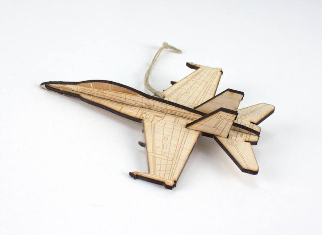 Christmas Ornament | F-18 Hornet Wooden Christmas Ornament