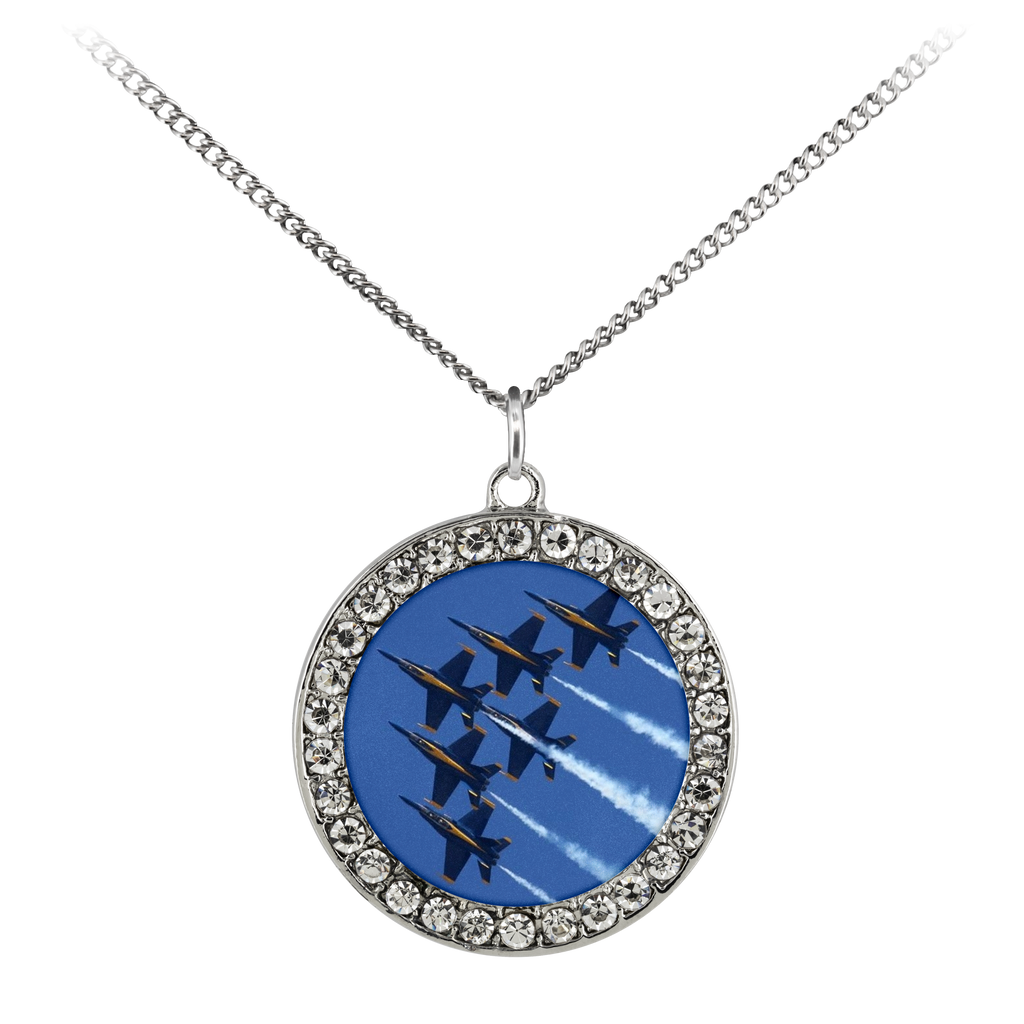 Blue Angels Stone Coin Necklace