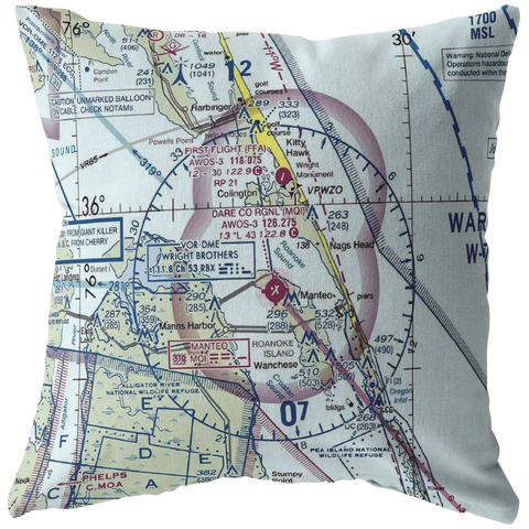 "Image of Throw Pillow |  Kitty Hawk, North Carolina ""First in Flight"" VFR Sectional"