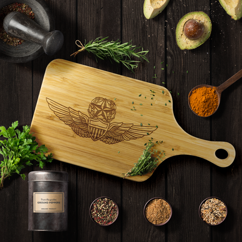 Image of Premium Bamboo Cutting Board | Master Army Aviator Wings Silhouette