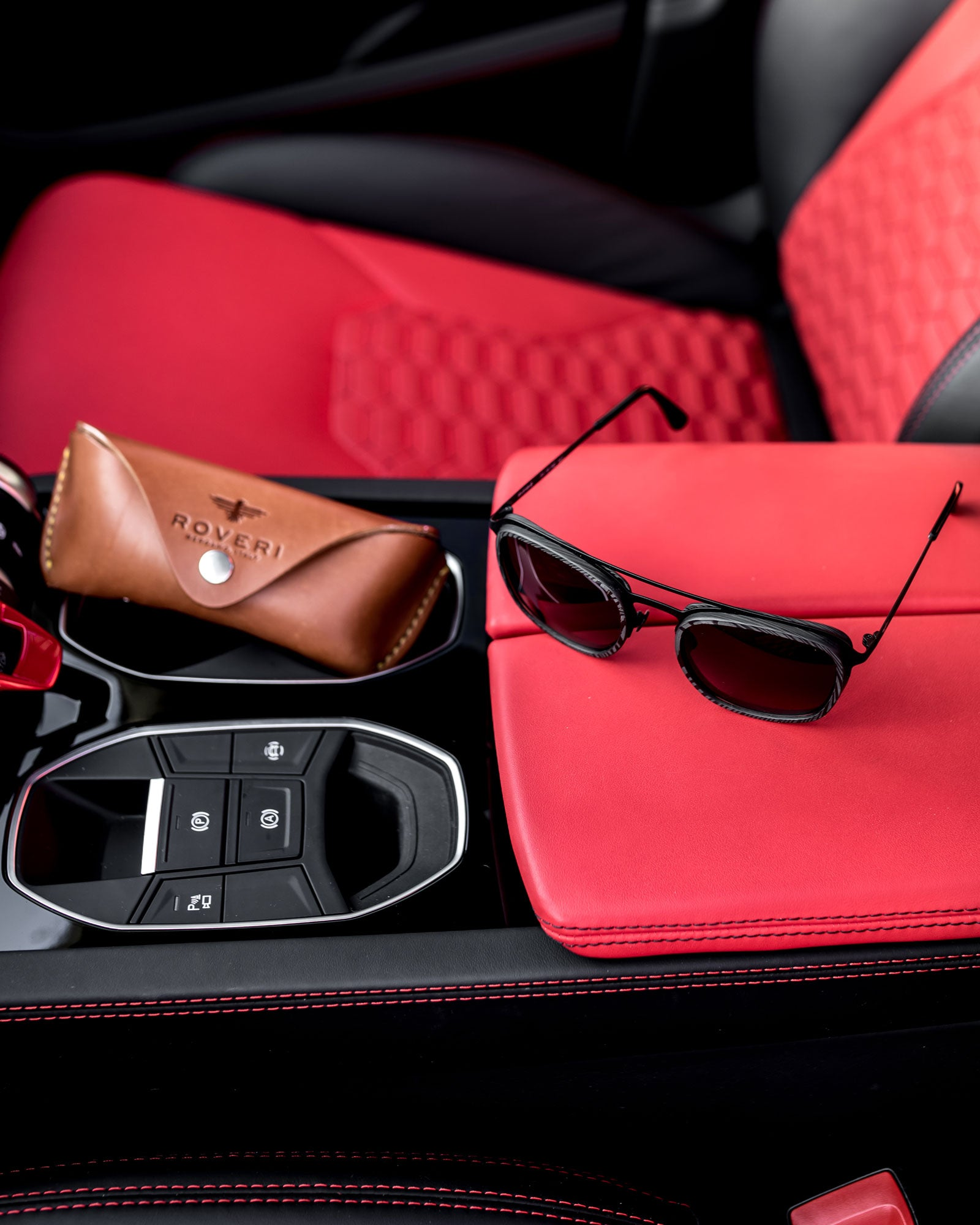 Roveri Eyewear RV018B with Lamborghini Urus Red interiors and leather case.