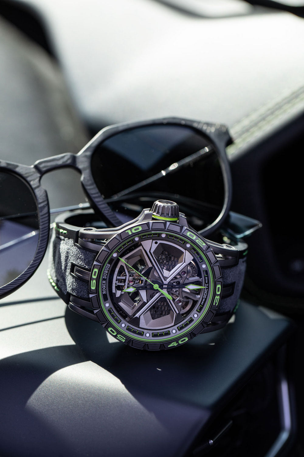 Roger Dubuis excalibur spider photoshoot with Roveri Eyewear CLM7 Claseri Michele