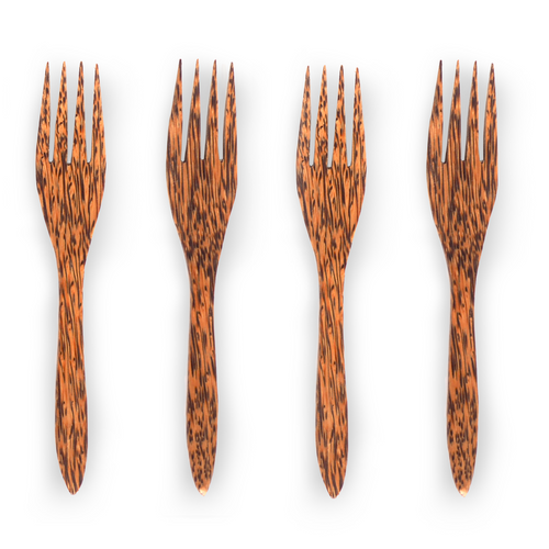 Natural eco-friendly KUKY FORKS: SET OF 4 suitable for vegans