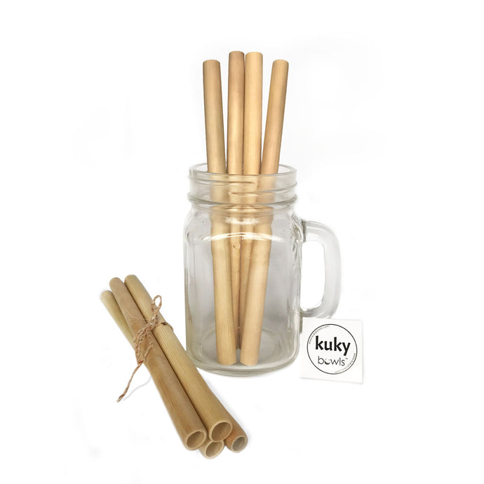 Natural eco-friendly BAMBOO STRAWS: SET OF 4 suitable for vegans