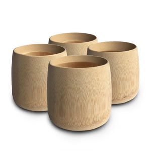 Natural eco-friendly BAMBOO CUPS: SET OF 4 suitable for vegans