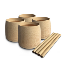 Load image into Gallery viewer, Natural eco-friendly BAMBOO CUPS: SET OF 4 suitable for vegans