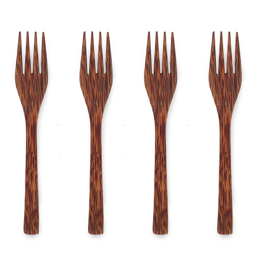 Natural eco-friendly ELEGANT COCONUT FORKS: SET OF 4 suitable for vegans