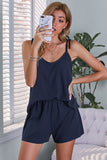 Blue Ribbed Knit Tank Shorts Set