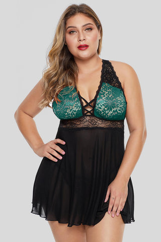 Green Lattice Babydoll set