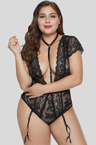 Black Short Sleeve Floral Lace Teddy with Garter