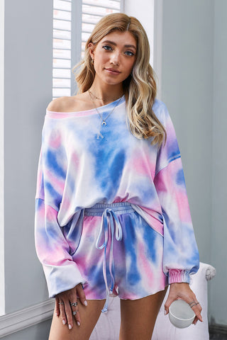 Blue Tie-dye Pajamas Loungewear Set